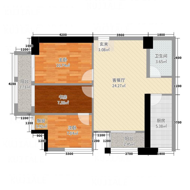 泰顺和商业中心15.00㎡C1户型3室2厅1卫1厨