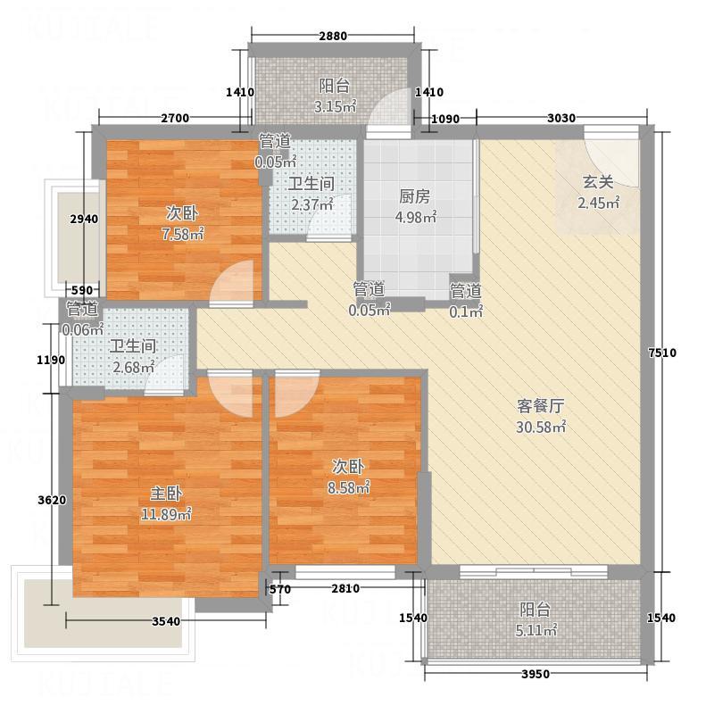 区体育馆_调整大小户型3室2厅2卫1厨