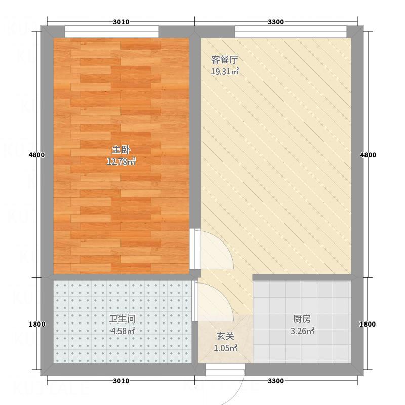 铁佛花园2户型1室1厅1卫1厨