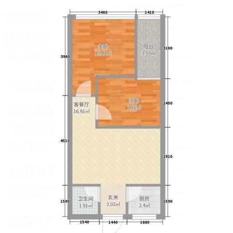 亿安天下城2室1厅1卫1厨61.00㎡户型图