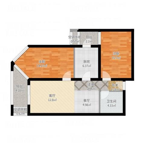 乐城2室1厅1卫1厨98.00㎡户型图