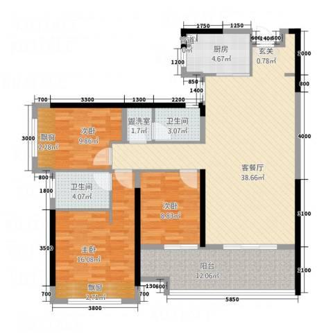 都市兰亭3室2厅2卫1厨99.18㎡户型图