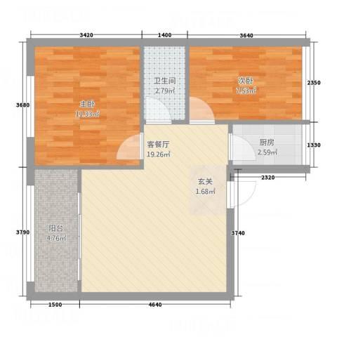 亿安天下城2室1厅1卫1厨68.00㎡户型图