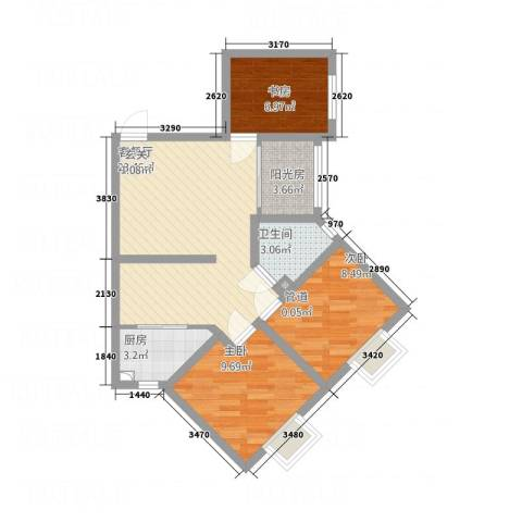 摩登3米阳光3室1厅1卫1厨86.00㎡户型图