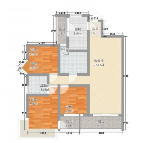 新鹰国际3室1厅2卫1厨112.00㎡户型图