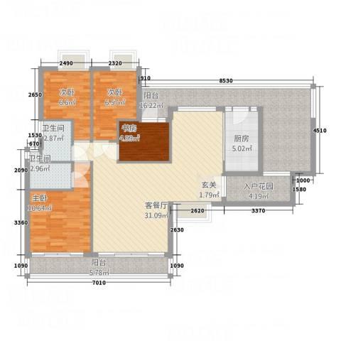 新鹰国际4室1厅2卫1厨96.91㎡户型图