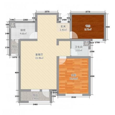 南麓雅筑2室1厅1卫1厨69.20㎡户型图