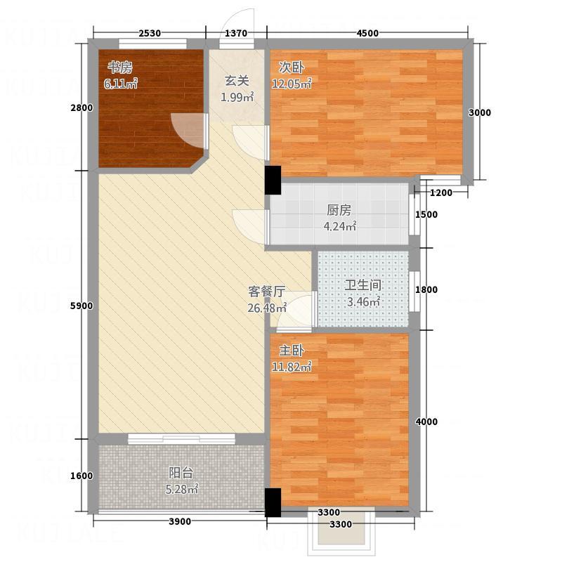 财富广场7.20㎡F1户型2室2厅1卫
