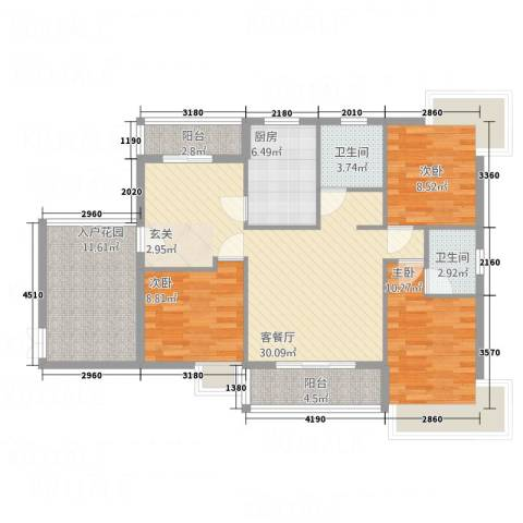 新鹰国际3室1厅2卫1厨128.00㎡户型图