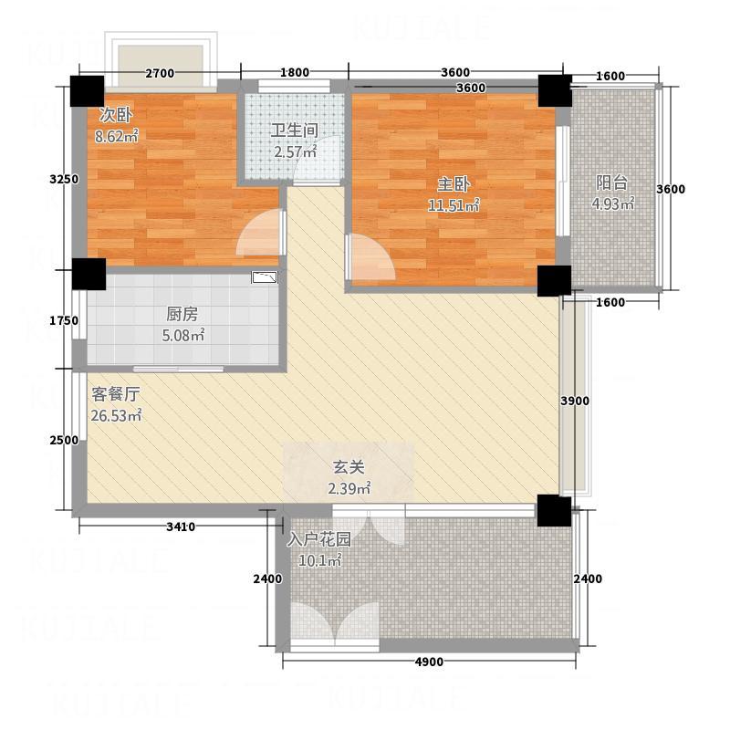 嘉业海华公寓7.00㎡户型2室2厅2卫1厨