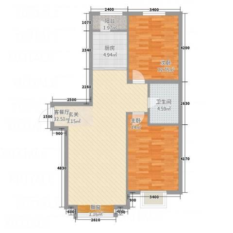 星球花园2室1厅1卫1厨98.00㎡户型图