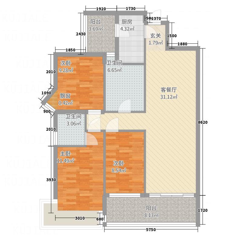 新鹰国际122.14㎡C-2户型3室2厅2卫1厨