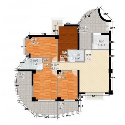 嘉业海华公寓4室1厅2卫1厨142.00㎡户型图