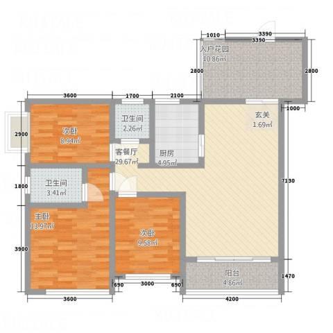 桃园公寓3室1厅2卫1厨129.00㎡户型图