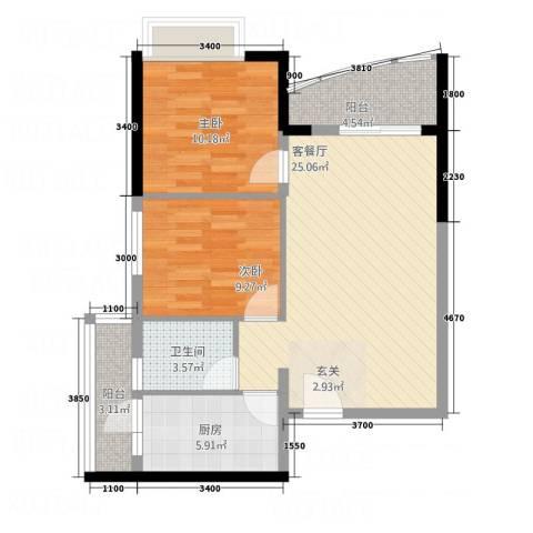 景悦和苑项目2室1厅1卫1厨88.00㎡户型图