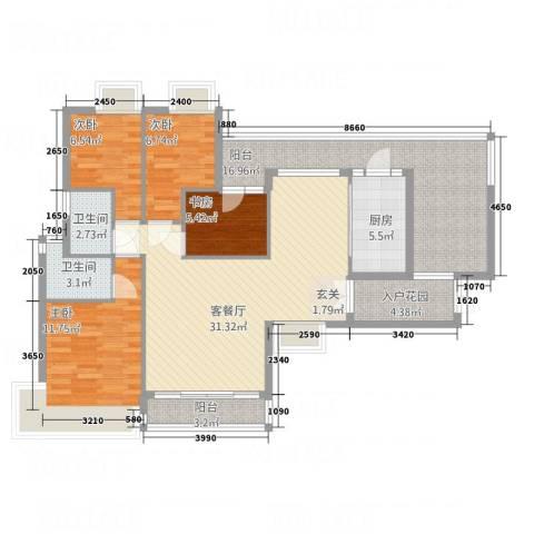 新鹰国际4室1厅2卫1厨97.65㎡户型图