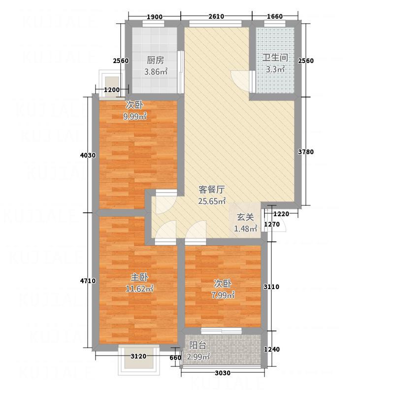 世纪华城87.00㎡楼梯房01/10户型3室2厅1卫1厨