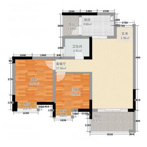 愉景花园2室1厅1卫1厨97.00㎡户型图