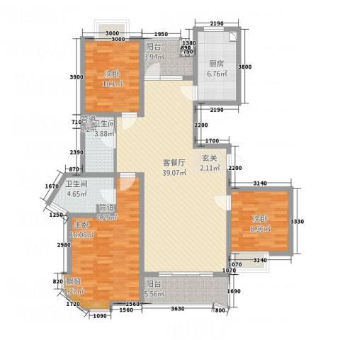 桃园公寓3室1厅2卫1厨145.00㎡户型图