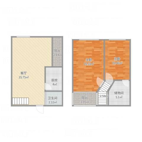 君园2室1厅1卫1厨98.00㎡户型图