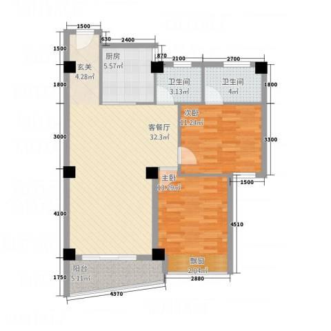 嘉业海华公寓2室1厅2卫1厨74.64㎡户型图