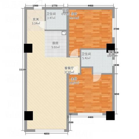 桃园公寓2室1厅2卫0厨109.00㎡户型图