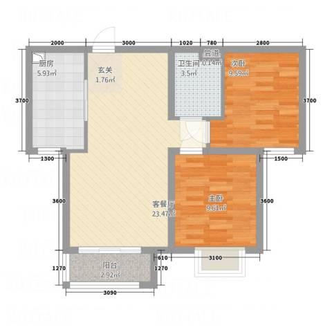 桃园公寓2室1厅1卫1厨80.00㎡户型图