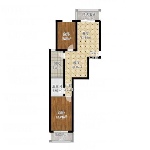 北京悦2室1厅1卫1厨92.00㎡户型图