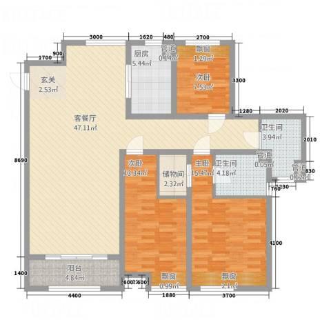 荣盛・爱家丽都3室1厅2卫1厨150.00㎡户型图