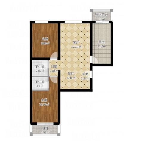 北京悦2室1厅2卫1厨90.00㎡户型图