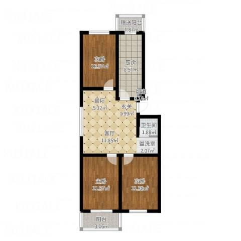 北京悦3室1厅1卫1厨102.00㎡户型图