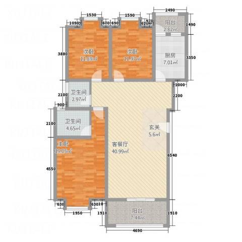 中华坊云岭3室1厅2卫1厨108.81㎡户型图