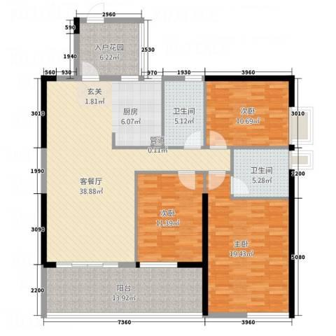 竹韵商居3室1厅2卫0厨155.00㎡户型图