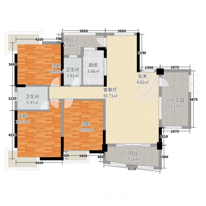 枫林水岸豪庭168.38㎡2#A单元0户型4室2厅3卫1厨