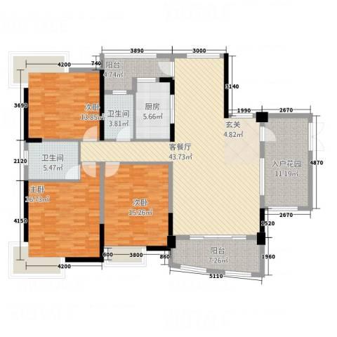 枫林水岸豪庭3室1厅2卫1厨168.00㎡户型图