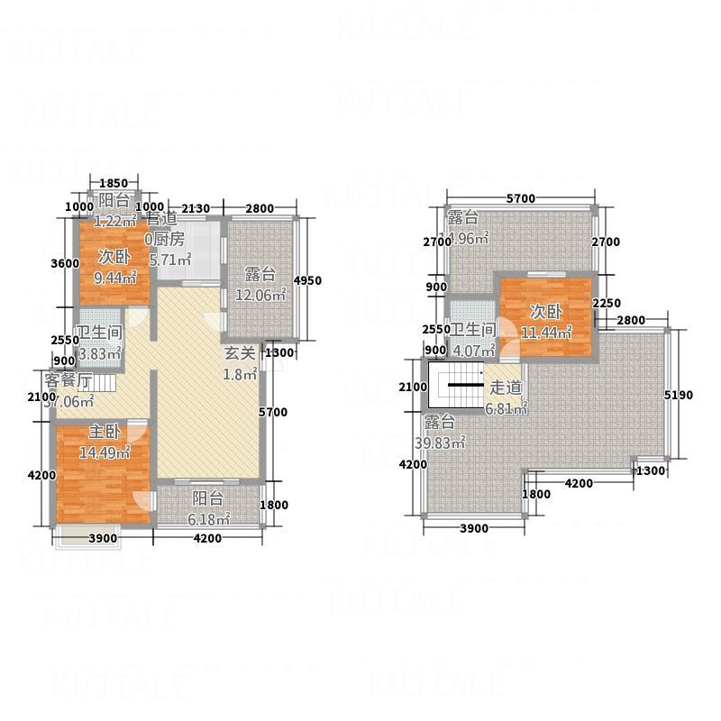 众合北尚123.00㎡C跃户型3室2厅2卫1厨