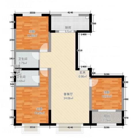 晟宝龙广场3室1厅2卫1厨126.00㎡户型图