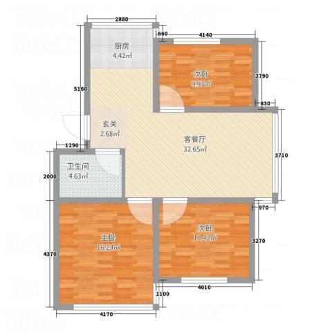 金河湾3室1厅1卫0厨74.91㎡户型图