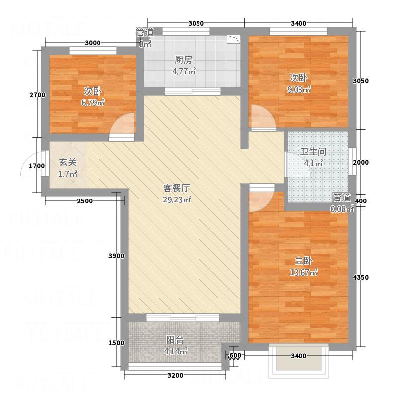 欢乐江山A1户型3室2厅1卫1厨