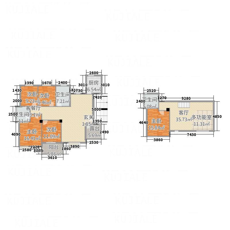 义和花园134.20㎡C2别墅(西)户型6室3厅3卫1厨