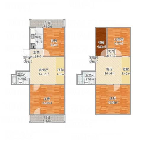慧忠北里5室3厅2卫1厨137.00㎡户型图