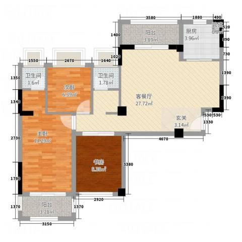 星城旺城3室1厅2卫1厨112.00㎡户型图