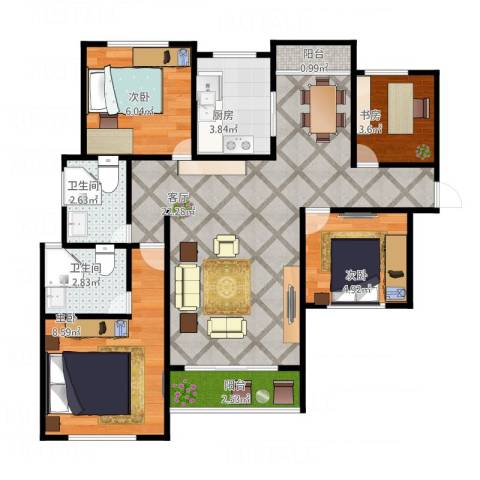 融侨城4室1厅2卫1厨81.00㎡户型图