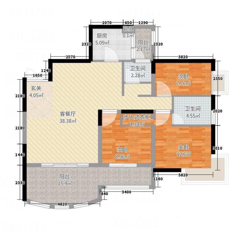 丽都大厦14.00㎡户型3室2厅1卫1厨