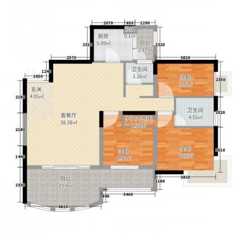 丽都大厦3室1厅2卫1厨97.28㎡户型图