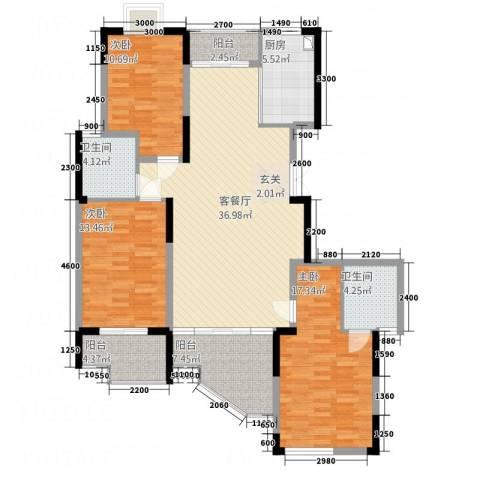 雅塘新居3室1厅2卫1厨152.00㎡户型图