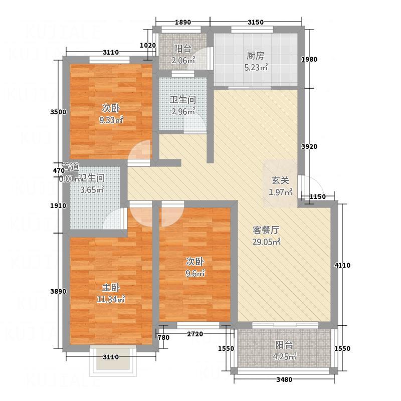 宝桦园114.00㎡户型3室