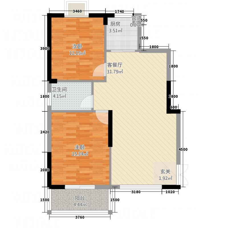 明城公馆88.00㎡A户型2室2厅1卫