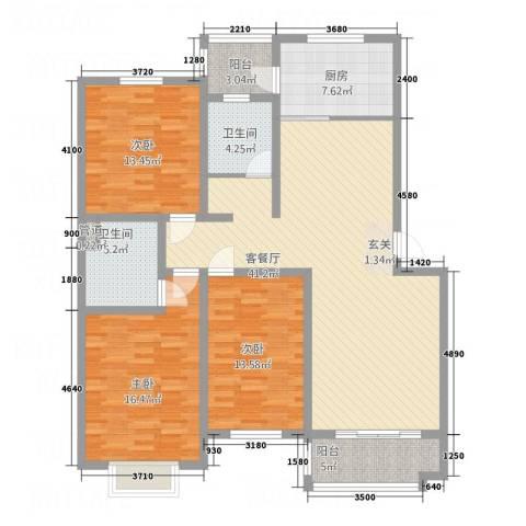格林花园3室1厅2卫1厨158.00㎡户型图