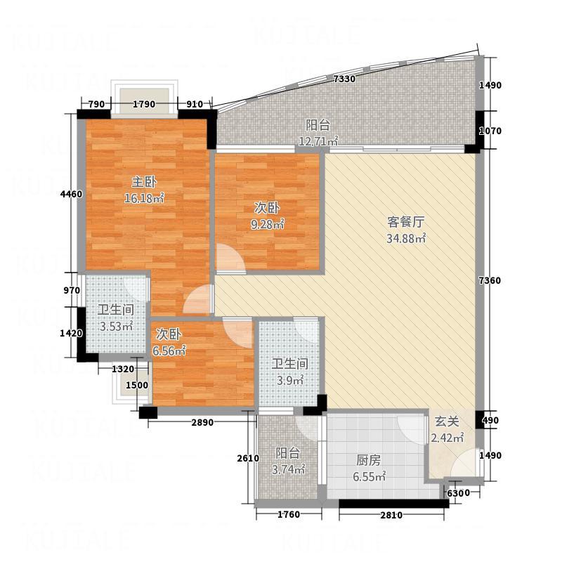 会展领域134.65㎡B座4-9层4单位户型3室2厅2卫1厨